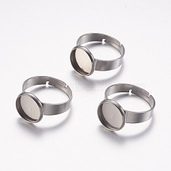 Adjustable 304 Stainless Steel Finger Rings Components, Pad Ring Base Findings, Flat Round, Stainless Steel Color, Tray: 10mm; 17mm(X-STAS-F149-18P-E)