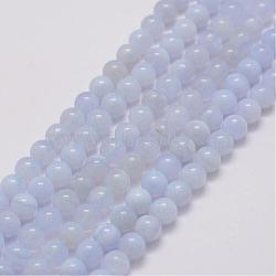 Natural Blue Lace Agate Bead Strands, Grade AB, Round, 6mm, Hole: 1mm; about 68pcs/strand, 15.3inches(39cm)