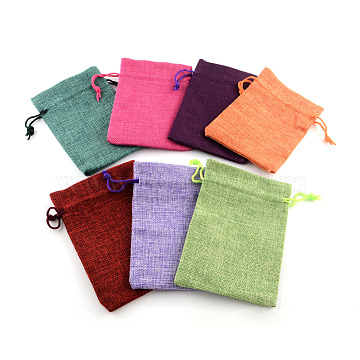 Polyester Imitation Burlap Packing Pouches Drawstring Bags, Mixed Color, 12x9cm(X-ABAG-R005-9x12-M)