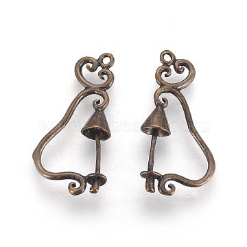 Brass Pendants, Bell, Antique Bronze Color, 24mm long, 12mm wide, 5mm thick, hole: 1mm(EC4619Y-AB)