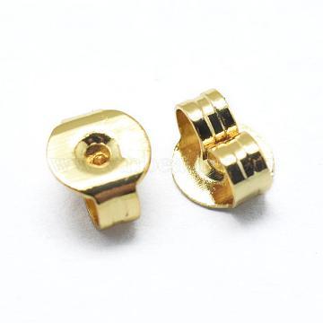 Brass Ear Nuts, Earring Backs, Golden, 5x4x2.5mm, Hole: 0.8mm(KK-I641-01G)