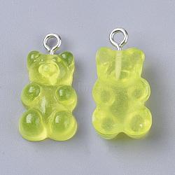 pendants de résine, avec boucle en fer plaqué platine, nourriture imitation, support , greenyellow, 20.5~22.5x11.5x7 mm, trou: 2 mm(X-CRES-T017-001G)