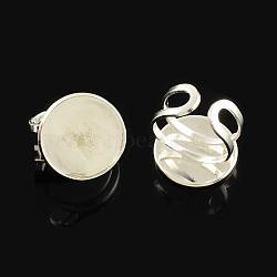 laiton réglable composants d'anneau, conclusions de l'anneau de garniture, avec des paramètres cabochon de lunette ronde plat, argent, plateau: 20 mm; 20 mm(X-KK-Q573-003S)