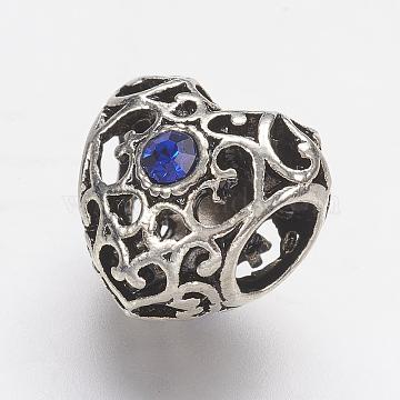 Tibetan Style Alloy Rhinestone European Beads, Large Hole Beads, Hollow Heart, Antique Silver, Blue, 12x12.5x9.5mm, Hole: 5mm(PALLOY-F202-38I)