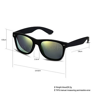 Trendy Unisex Summer Sunglasses, Plastic Frames and Polycarbonate Lenses, Black, Gold, 14.4x4.9cm(SG-BB27691-1)