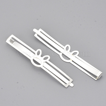 Iron Bunny Hair Bobby Pins, Rabbit Head, Silver Color Plated, 66x13.5x5mm(MAK-S071-02S)
