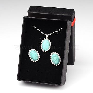 Synthetic Turquoise Stud Earrings & Necklaces