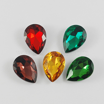 Glass Pointed Back Rhinestone, Back Plated, Faceted, Teardrop, Mixed Color, 14x10x5mm(X-RGLA-Q001-M)