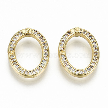 Brass Micro Pave Clear Cubic Zirconia Twister Clasps, Nickel Free, Oval, Real 16K Gold Plated, 17x13x2.5mm, Inner Diameter: 8x12mm(ZIRC-S067-120-NF)
