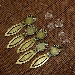 18 mm couvercle bombé cabochon de verre clair pour création de marque page bronze antique portrait bricolage en alliage , sans plomb et sans nickel, supports cabochons signets: 80x22 mm; bac: 18 mm(DIY-X0117-AB-FF)
