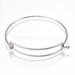 регулируемый 304 расширяемый браслет из нержавеющей стали, нержавеющая сталь цвет, 2-3 / 8 (60 мм); 1.5 мм(STAS-I081-01P)