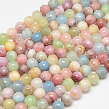 Natural Gemstone Morganite Round Beads Strands, 8mm, Hole: 1mm, about 50pcs/strand, 15.4 inches(G-O017-8mm-02B)