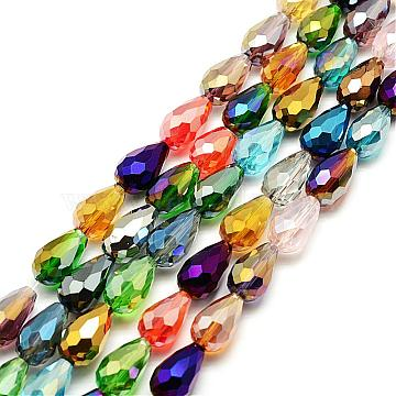 15mm Mixed Color Drop Electroplate Glass Beads