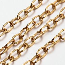 chaînes de câbles en aluminium, non soudée, oxydé en or, taille: environ chaîne: 12 mm de long, 8 mm de large, 1.5 mm d'épaisseur(X-CHA-K16302-11)