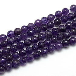 Natural Amethyst Round Bead Strands, Grade AB, 6mm, Hole: 1mm; about 65pcs/strand, 15.74inches