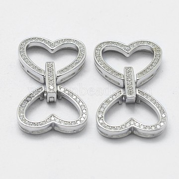 Platinum Heart Sterling Silver Fold Over Clasps