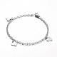 304 Stainless Steel Heart Charm Bracelets(BJEW-L567-02P)-1