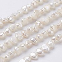 Natural Cultured Freshwater Pearl Beads Strands, Nuggets, Seashell Color, 6~9x5~6x3~4mm, Hole: 0.5mm, about 62~63pcs/strand, 13.4 inches