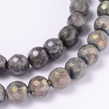 Electroplate Natural Labradorite Round Bead Strands, Faceted, 6mm, Hole: 1mm, about 62pcs/strand, 14.9 inches(G-L377-36-6mm)