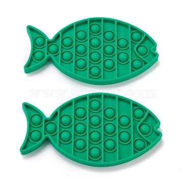 Silicone Push Pop Bubble Fidget Sensory Toy, Bubble Popper Fidget Toy, Stress Anxiety Relief Toys, Fish, Green, 170x92x12mm(DIY-J004-C01)