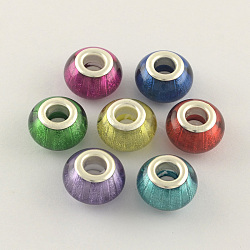 Large Hole Acrylic European Beads, with Silver Tone Brass Double Cores, Rondelle, Mixed Color, 14x9mm, Hole: 5mm