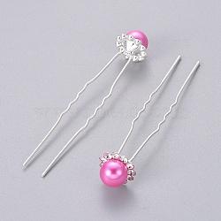 (Vente défectueuse de clôture) Accessoires pour cheveux de dame Fourchettes à cheveux en boule de fer plaqué couleur argent, avec des perles abs imitation de perles et de perles de strass, rose foncé, 75.5 mm(PHAR-XCP0004-04S-01)