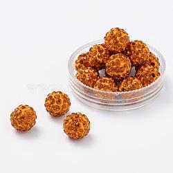 Perles de boule pavé disco , Perles de strass en argile polymère, rond, citrine, 10mm, Trou: 2mm(X-RB-S604-1)