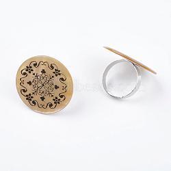 Coquillage anneaux en laiton, réglable, rond, de couleur métal platine , lightkhaki, diamètre intérieur: 17 mm(RJEW-C081-5)