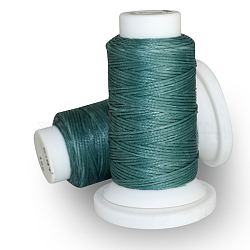 Waxed Polyester Cord, Teal, 0.8mm, about 54.68 yards(50m)/roll(OCOR-E021-A16)