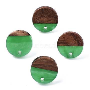 Resin & Walnut Wood Stud Earring Findings, with 304 Stainless Steel Pin, Flat Round, Medium Sea Green, 14mm, Hole: 1.8mm, Pin: 0.7mm(MAK-N032-007A-H03)