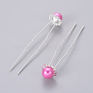 Silver DeepPink Acrylic Hair Forks