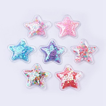 PVC and Paillette Decoration, DIY Craft Decoration, Star, Mixed Color, 49.5x49.5x8mm(X-AJEW-F037I)