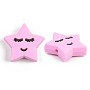 Pearl Pink Star Silicone Beads(X-SIL-N002-05C)