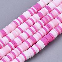 brins de perles en argile polymère faits à la main, perles heishi, pour les fournitures de bricolage bijoux artisanat, disque / rond plat, rose chaud, 4x0.5~1 mm, trou: 0.9 mm, environ 320~450 pcs / brin, 15.35 pouces ~ 16.92 pouces (39~43 cm)