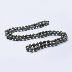 Естественно бирюзовый бисера ожерелья, круглые, 36'' (91.44 см)(NJEW-P202-36-A10)