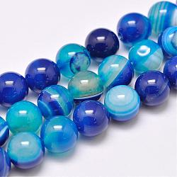Natural Striped Agate/Banded Agate Bead Strands, Dyed & Heated, Round, Grade A, Blue, 12mm, Hole: 1mm; about 32pcs/strand, 15.1