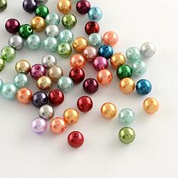 Perles rondes en plastique ABS d'imitation perle, couleur mixte, 8mm, trou: 2 mm; environ 2000 pcs / 500 g(MACR-R546-17)