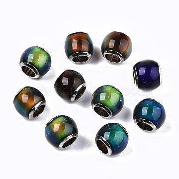 Glass European Beads, Large Hole Beads, with Platinum Tone Brass Double Cores, Rondelle, Mood Beads(Color will Change with Different Temperature), Colorful, 7~8x6~7mm, Hole: 4mm(GLAA-N035-010)