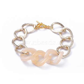 Chain Bracelets, with Aluminum Curb Chains, Acrylic Linking Rings and Alloy Toggle Clasps, Light Gold, Wheat, 7-5/8 inches(19.5cm)(BJEW-JB05176-03)