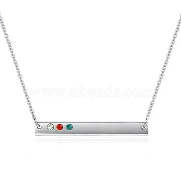 925 Sterling Silver Bar Necklaces, with Austrian Crystal, Rectangle, Platinum, Colorful, 15.74 inches(40cm)(SWARJ-BB34039)
