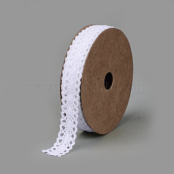 Cotton Ribbons, Oval Pattern, White, 5/8inch(15mm); about 2yards/roll(1.829m/roll)(SRIB-Q018-11B)
