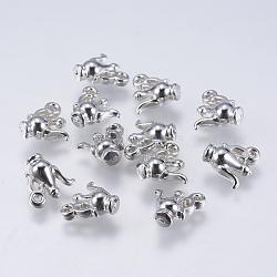 Пластиковые прелести ccb, чайник, платина, 12x13x6 мм, отверстие : 1.5 мм(X-CCB-S616-2N)