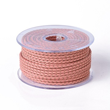 Braided Cowhide Cord, Leather Jewelry Cord, Jewelry DIY Making Material, Salmon, 5mm, about 21.87 yards(20m)/roll(WL-I004-5mm-06)