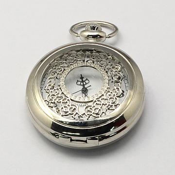 Vintage Hollow Flat Round Zinc Alloy Quartz Watch Heads for Pocket Watch Pendant Necklace Making, Antique Bronze, Platinum, 59x46x14mm, Hole: 16x4mm(WACH-R005-32)
