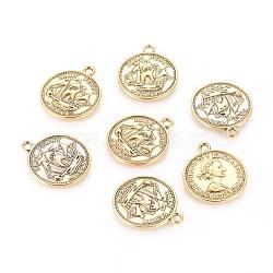Pendentifs de style tibétain , sans plomb et sans nickel, pièce de monnaie, de couleur or antique , 23x19x1mm, Trou: 1.5mm(TIBEP-A19776-AG-FF)
