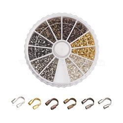 Gardiens de fil en laiton, couleur mixte, 4.5x4x1mm, trou: 0.5 mm; environ 540 / boîte(KK-JP0004-01)