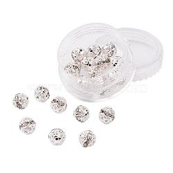 Brass Rhinestone Beads, Grade A, Silver Color Plated, Round, Crystal, 8mm, Hole: 1mm; 20pcs/box(RB-JP0001-8mm-01S)