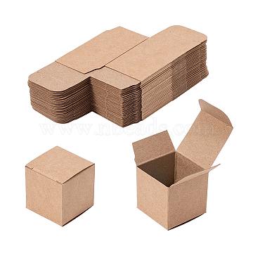 Kraft Paper Box, Square, DarkGoldenrod, 3.8x3.8x3.8cm(X-CON-WH0029-01)