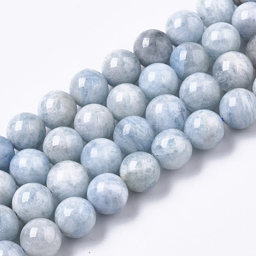 Natural Aquamarine Beads Strands, Round, 9.5mm, Hole: 1mm; about 42pcs/strand, 15.55''(39.5cm)(G-R465-21)