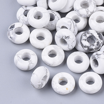Natural Howlite European Beads, Large Hole Beads, Rondelle, 10x4.5mm, Hole: 4mm(X-G-Q503-17)